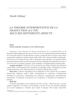 Nazik Göktaş La théorie interpretative de la traduction (la TIT)