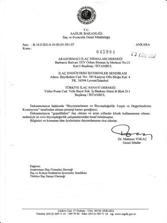 Deksametazon BE muafiyeti