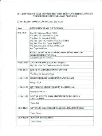 2014-2015 TURGUT ÖZAL ÜNİVERSİTESİ FİZİK