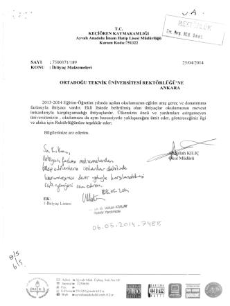 Ankara Keçiören Ayvalı Anadolu İmam Hatip Lisesi Müdürlüğü