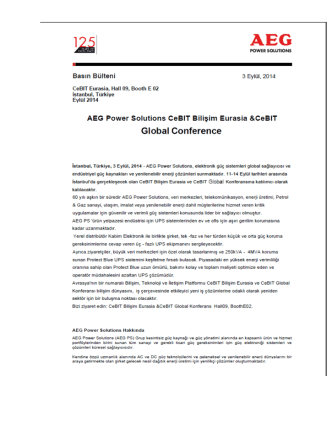AEG Power Solutions - CeBIT Bilişim Eurasia
