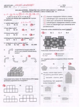 5. sınıf 2. dönem 2. yazılı b grubu cevap anahtarı