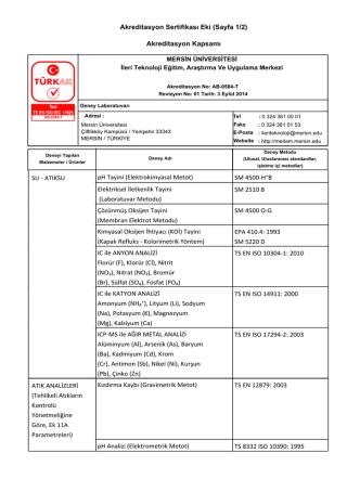 Akreditasyon Sertifikası Eki (Sayfa 1/2) Akreditasyon Kapsamı pH