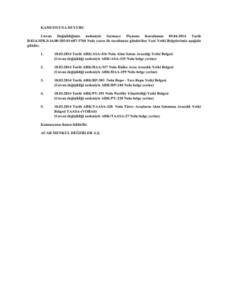 7.Yetki belgeleri duyurusu - Acar Yatırım Menkul Değerler A.Ş.