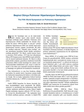 Beşinci Dünya Pulmoner Hipertansiyon Sempozyumu