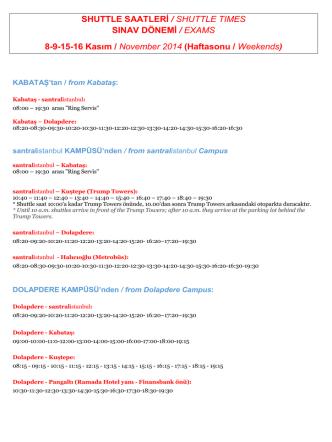 8-9-15-16 Kasım (Haftasonu)