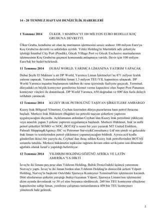 14-20 Temmuz 2014 Haftası Denizcilik Haberleri