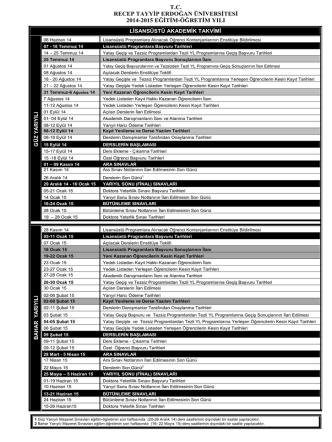 2014-2015 Eğitim-Öğretim Yılı Akademik Takvimi