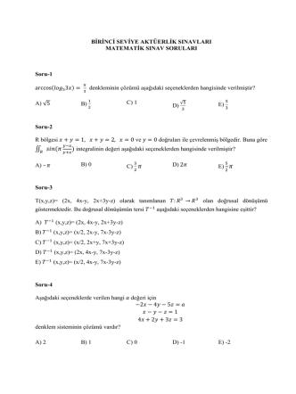 Birinci Seviye –Matematik Sınavı Soruları