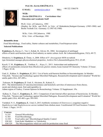 Curriculum vitae - CU Department of Food Engineering