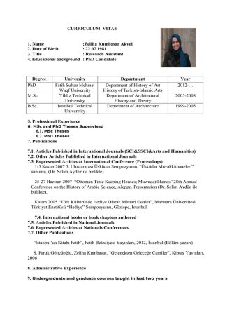 Akademik CV - Fatih Sultan Mehmet Vakıf Üniversitesi