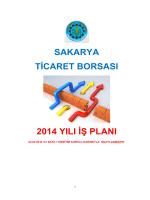 sakarya ticaret borsası 2014 yılı iş planı