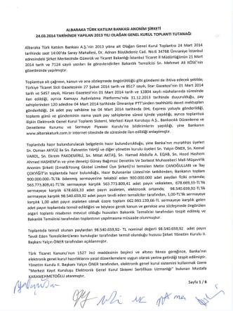 24 Mart 2014 tarihli Olağan Genel Kurul Toplantı