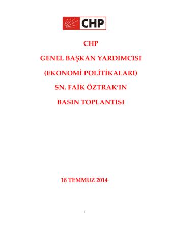 CHP GENEL BAŞKAN YARDIMCISI (EKONOMİ POLİTİKALARI) SN