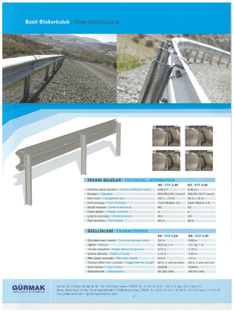 Basit Otokorkuluk /Single Sided Guardrail