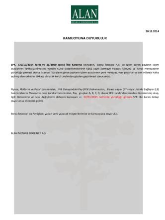 30.10.2014 tarihli ve 31/1080 s.k.