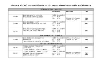 2014-2015 Öğretim Yılı Güz Yarıyılı Final Juri Programları