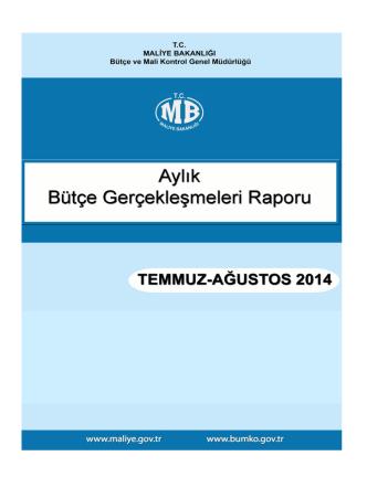 2014 Temmuz-Agustos Ayı Merkezi Yönetim Bütçe Gerçeklesmeleri