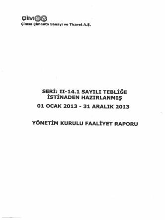 31.12.2013 Yönetim Kurulu Faaliyet Raporu