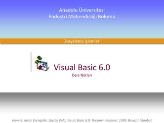 Bilgisayar Programlama Dersi Visual Basic 6.0 Ders Notları
