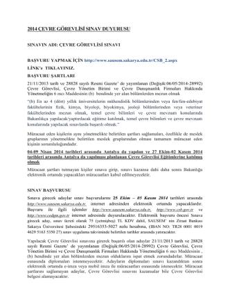 2014 Çevre Görevlisi Sınav Duyurusu