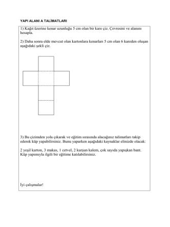 1) Kağıt üzerine kenar uzunluğu 5 cm olan bir