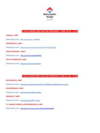 9 ocak online ders anlatım programı 2. ders (11.40 – 12.40)