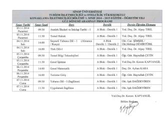 2014/2015 Akademik Yılı I. Sınıf Güz Dönemi Ara Sınavı