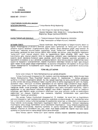 Ankara 15.İdare Mahkemesi`nin Esas No 2014/511 sayılı kararı için