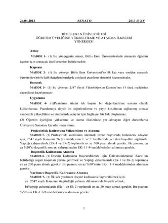 24.04.2013 senato 2013 /5-xv bitlis eren üniversitesi öğretim
