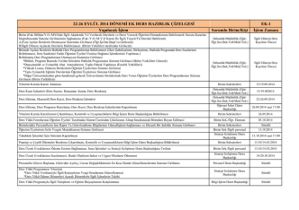22-26 EYLÜL 2014 DÖNEMİ EK DERS HAZIRLIK ÇİZELGESİ EK-1