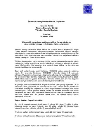 30.04.2014 Türkiye Bankalar Birliği Yönetim Kurulu Başkanı