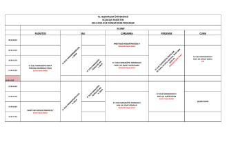 2013-2014 Gün Dönemi III. Sınıf Haftalık Ders Programı