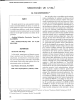 SEROTONİN VE UYKU* - Klinik Psikofarmakoloji Bülteni