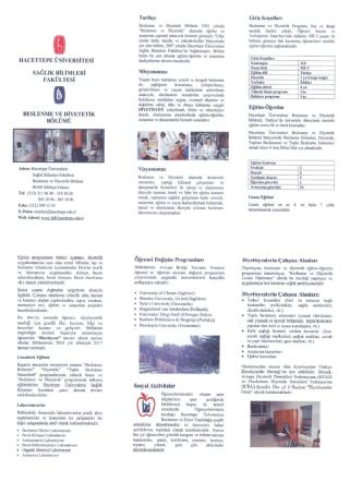 Bölümümüzün Tanıtım Broşürü - Hacettepe Üniversitesi Beslenme
