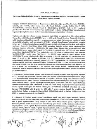 28.03.2014 Tarihli Genel Kurul Toplantı Tutanağı
