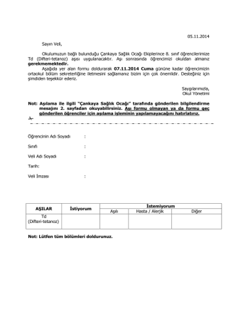 05.11.2014 Sayın Veli, Okulumuzun bağlı bulunduğu Çankaya