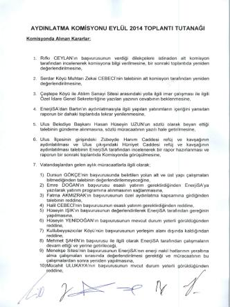 Bartın Valiliği Komisyon Kararları (Eylül 2014)