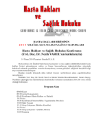 Hasta Hakları ve Sağlık Hukuku Konferansı (Yrd. Doç. Dr. Nezih