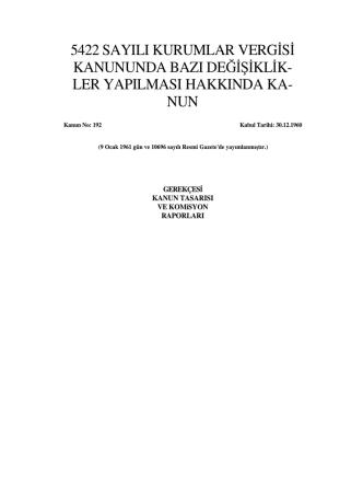 5422 sayılı kurumlar vergisi kanununda bazı değişiklik