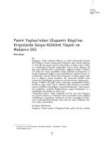 Kırgızlarda Sosyo-Kültürel Yaşam ve Mekânın Dili