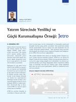 Yatırım Sürecinde Yenilikçi ve Güçlü Kurumsallaşma Örneği: Jetro