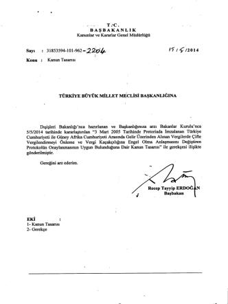 3 mart 2005 tarihinde pretoriada imzalanan türkiye cumhuriyeti ile