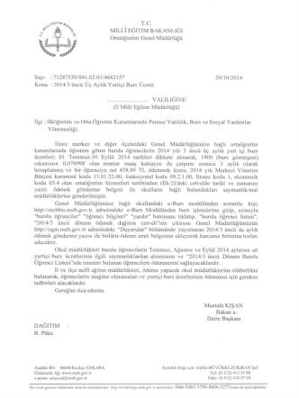 2014/3. Dönem Üç Aylık Yurtiçi Burs Ücretleri ilgili muhasebe