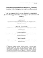 İlköğretim Matematik Öğretmen Adaylarının Üç Boyutlu