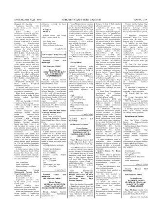 Ana Sözleşme Tarih 23 OCAK 2014 - Tic. Sic. Gaz. Sayı 8492