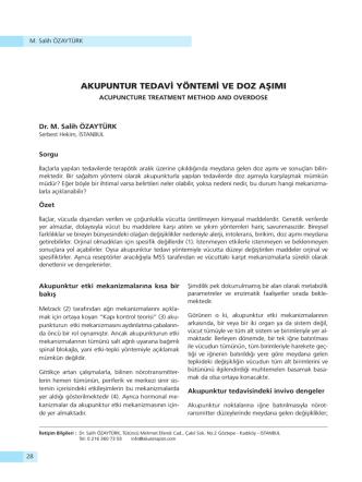 akupuntur tedavi yöntemi ve doz aşımı