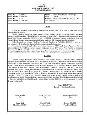 27 nolu karar-2014 - Altınordu Belediye Başkanlığı