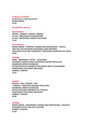 27 Ağustos / AUGUST Açılış Konseri / Opening Concert SUZAN