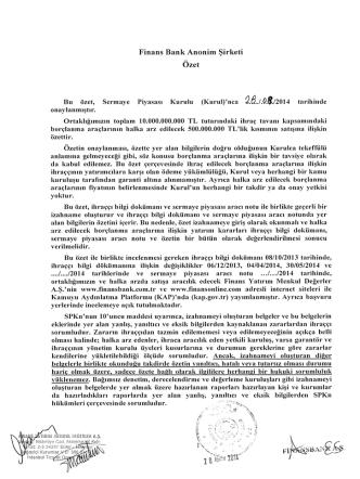 1- Finansbank İzahname Özet Ağustos 2014